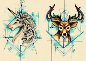 Unicorn and Stag Tattoo Concept by TheLadyJ