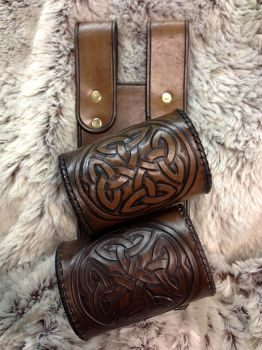 Hand-Tooled Celtic-Knot Double Sword Frog by SonsOfPlunderLeather