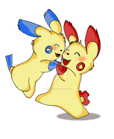 Plusle and Minun by KillerSandy