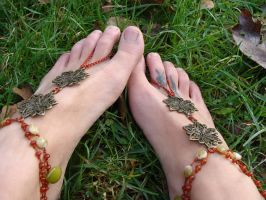 Autumn Colors Barefoot Sandals by noisypixie