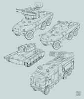Space Vagabonds - tank concepts 1 by Hideyoshi