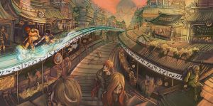 Cityscape: The El-Rail by firecloud