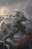 GhostBlade: Battle of Dark Mountain by wlop
