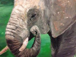 My painting of the vulnerable African Elephant by goshilpa