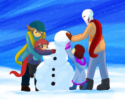 Winter2015 - Making a Snowman With My Brother by CoolFireBird