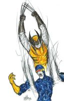 Wolverine and Cyclops by gomezvsrufio