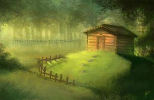 Forest hut by Lhuin