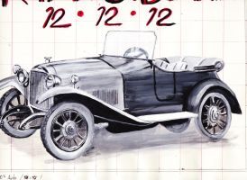 1920's auto (paint sketch) by trytocallithome