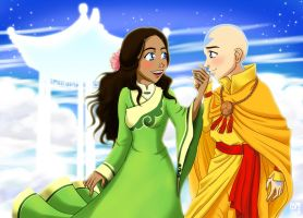 Aang and Katara Floating by applejaxshii