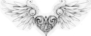 Winged heart locket by Mustang-Inky