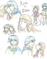 Marth x Zelda doodles by SparxPunx