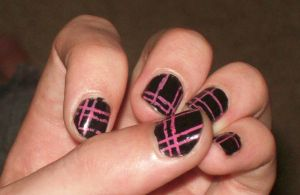 Pink and Black Plad nail art by Emokitty1234