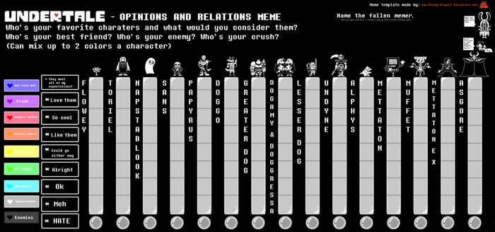 Undertale Opinions and Relations Meme Template by Bloody-Uragiri