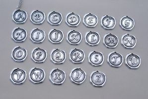 Customized Seal Letter Necklaces by MonsterBrandCrafts