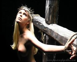 Girl nailed to a cross by passionofagoddess