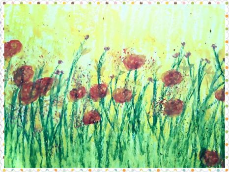 flowers in the sun,oil pastel on paper,2030 by irmaGallerys