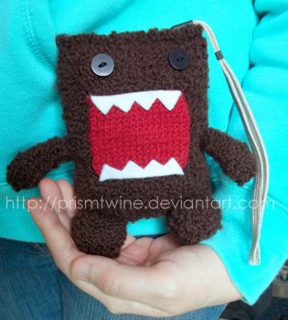 Domo kun knitted camera bag by prismtwine