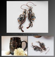 Neala- wire wrapped copper earrings by mea00