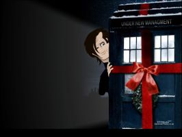 Matt Smith Dr Who and Tardis by dtdstudio