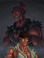 akuma and ryu pinup colored by shalomone