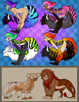 Tailmouths and Lions [2/6 open] by SushiMeep