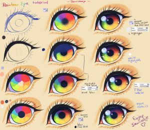 Step By Step - Rainbow eye tut + video by Saviroosje