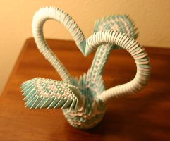 3D Origami Blue and White Heart Basket by CrystallizedJello