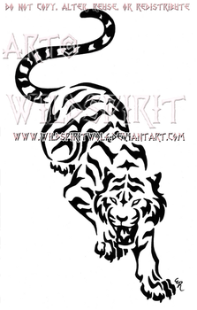 Snarling Prowling Tiger Design by WildSpiritWolf