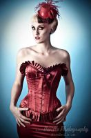 Cici Von Crypt in red satin by DevillePhotography
