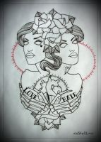DEAD TWINS tattoo flash OUTLINE work in progress by oldSkullLovebyMW