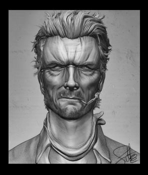 Clint Eastwood Zbrush Potrait by FoxHound1984