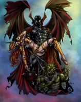 Spawn and Angela colored by alexasrosa
