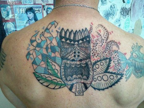 tiki man tattoo by bannonyoung