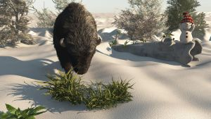 Bison snowman by fractal2cry