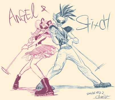 Stitch and Angel by chacckco