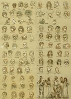 Harry Potter books character sketches by Thianari