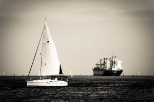 Little Boat, Big Boat by DizzyCowPhotography