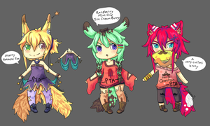 [CLOSED] Fox Bunny Kitty Adoptables ~ by Itadakii