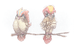 puff birb and cold birb by Wolframclaws
