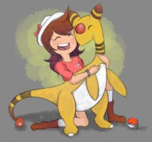 Sissy and Ampharos by KyraDraws