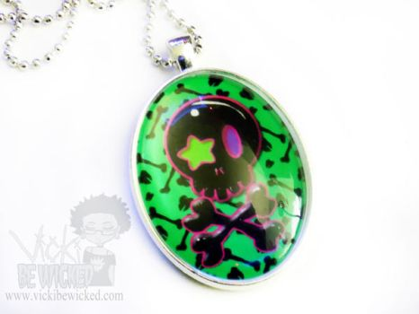 Green Skull and bones goth necklace by VickiBeWicked