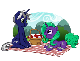 Comm - A Picnic for Two by BuckingAwesomeArt