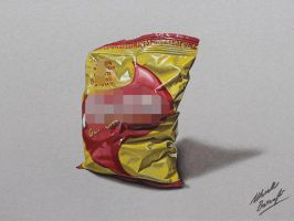 A bag of chips DRAWING by Marcello Barenghi by marcellobarenghi