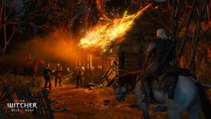 Witcher 3 roof on fire by Scratcherpen