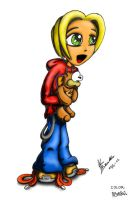 Manga Girl with teddy-COLORED by pogotribal