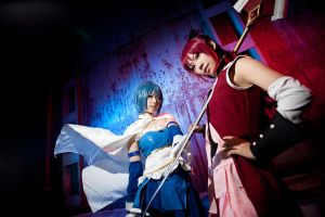 Madoka Magica-red and blue by Sakina666