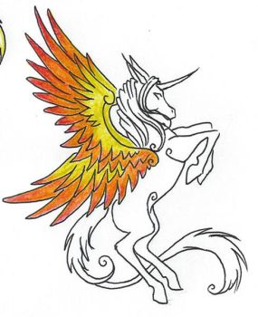 Firey Winged Unicorn Thingamie by anglphyre