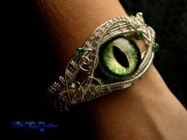 Custom Bracelet - Green Dragon Eye Silver Wire by LadyPirotessa