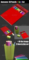3D Pencils Colour Set by samsulsekawan