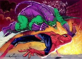 Spidey vs Green Goblin by stalnososkoviy